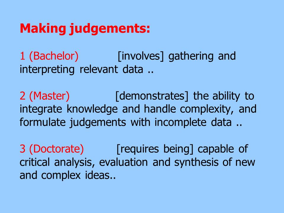 Making judgements: 1 (Bachelor) [involves] gathering and interpreting relevant data ..